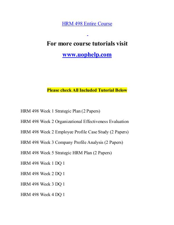HRM 498 help Minds Online/uophelp.com HRM 498 help Minds Online/uophelp.com