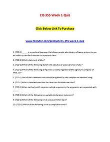 CIS 355 Week 1 Quiz
