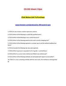 CIS 355 Week 2 Quiz
