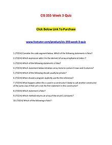 CIS 355 Week 3 Quiz