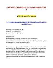 CIS 407 Week 6 Assignment 1 Insurance Agent App Part 1
