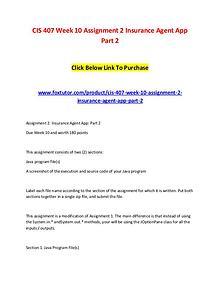 CIS 407 Week 10 Assignment 2 Insurance Agent App Part 2