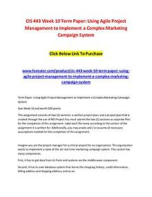 CIS 443 Week 10 Term Paper Using Agile Project Management to Implemen