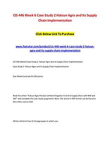 CIS 446 Week 6 Case Study 2 Hatsun Agro and Its Supply Chain Implemen