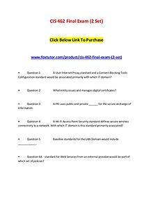CIS 462 Final Exam (2 Set)