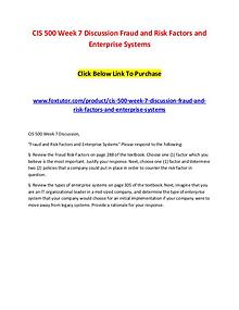 CIS 500 Week 7 Discussion Fraud and Risk Factors and Enterprise Syste