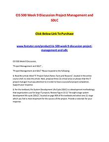 CIS 500 Week 9 Discussion Project Management and SDLC