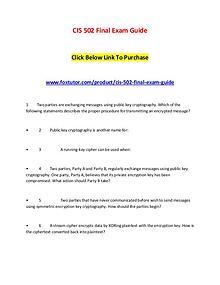 CIS 502 Final Exam Guide