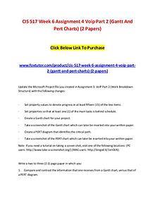 CIS 517 Week 6 Assignment 4 Voip Part 2 (Gantt And Pert Charts) (2 Pa