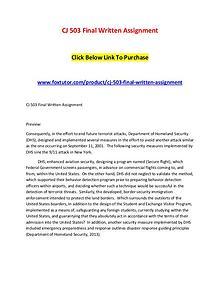 CJ 503 Final Written Assignment