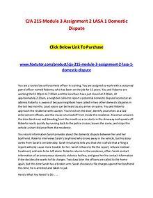 CJA 215 Module 3 Assignment 2 LASA 1 Domestic Dispute