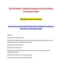 CJA 224 Week 1 Individual Assignment Court History and Purpose Paper