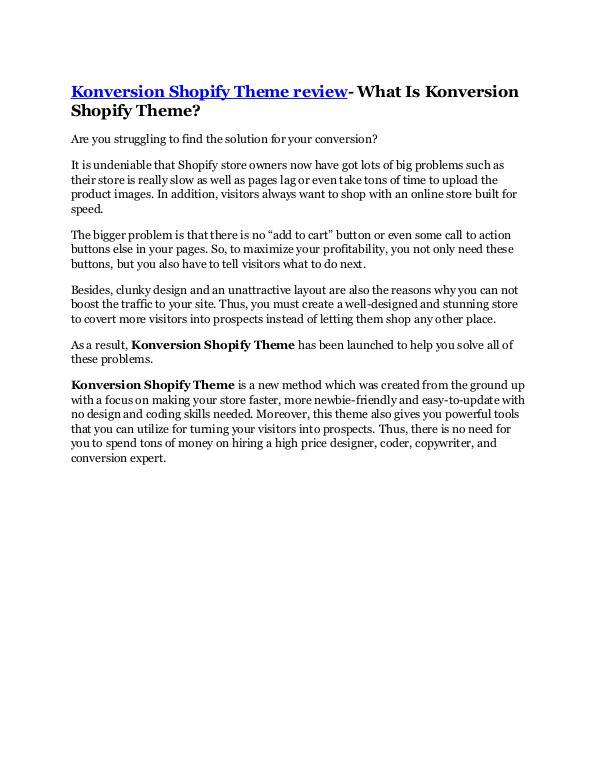 Konversion Shopify Theme review -(FREE) $32,000 Bo
