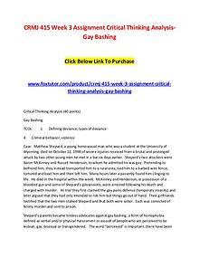 CRMJ 415 Week 3 Assignment Critical Thinking Analysis-Gay Bashing