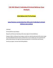 CJA 343 Week 2 Individual Criminal Defense Case Analysis