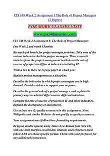 CIS 348 MENTOR Extraordinary Success /cis348mentor.com