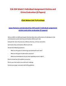 CJA 354 Week 5 Individual Assignment Victims and Crime Evaluation (2