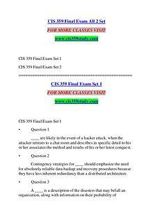 CIS 359 STUDY Extraordinary Success /cis359study.com