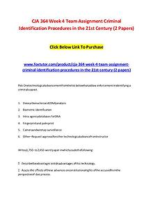CJA 364 Week 4 Team Assignment Criminal Identification Procedures in