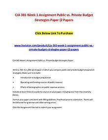 CJA 365 Week 1 Assignment Public vs. Private Budget Strategies Paper