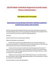 CJA 374 Week 4 Individual Assignment Juvenile Justice Process and Cor