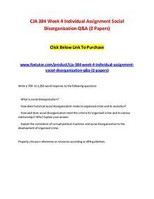 CJA 384 Week 4 Individual Assignment Social Disorganization Q&A (2 Pa
