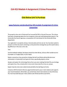 CJA 415 Module 4 Assignment 2 Crime Prevention