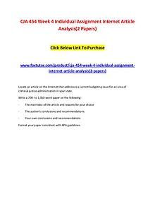 CJA 454 Week 4 Individual Assignment Internet Article Analysis(2 Pape