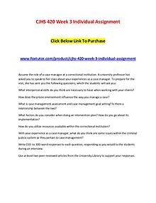 CJHS 420 Week 3 Individual Assignment