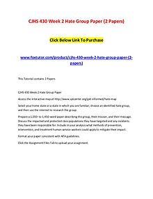 CJHS 430 Week 2 Hate Group Paper (2 Papers)