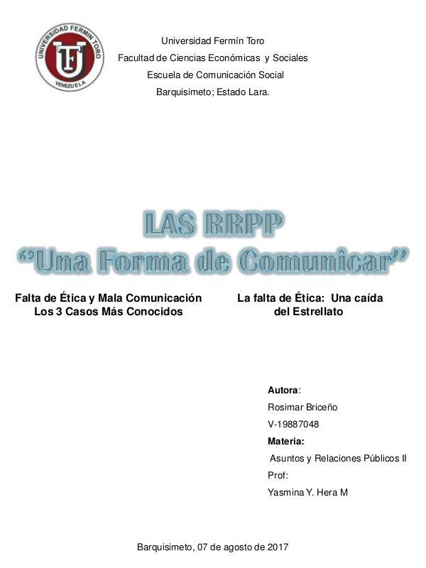 Las RRPP '' Una forma de Comunicar'' REVISTA RRPP - ROSIMAR BRICEÑO
