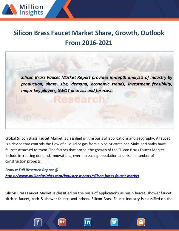 Market News Today Silicon Brass Faucet Market