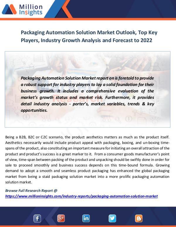 Market News Today Packaging Automation Solution Market