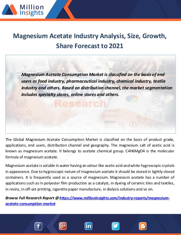 Market Revenue Magnesium Acetate Industry Analysis