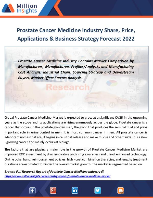Market Revenue Prostate Cancer Medicine Industry Share, Price