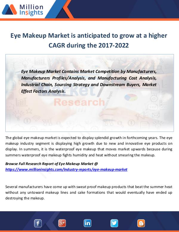 Market Revenue Eye Makeup Market is anticipated to grow high