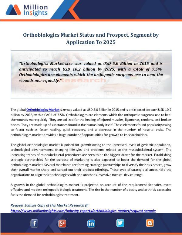 Market Revenue Orthobiologics Market Status and Prospect, Segment
