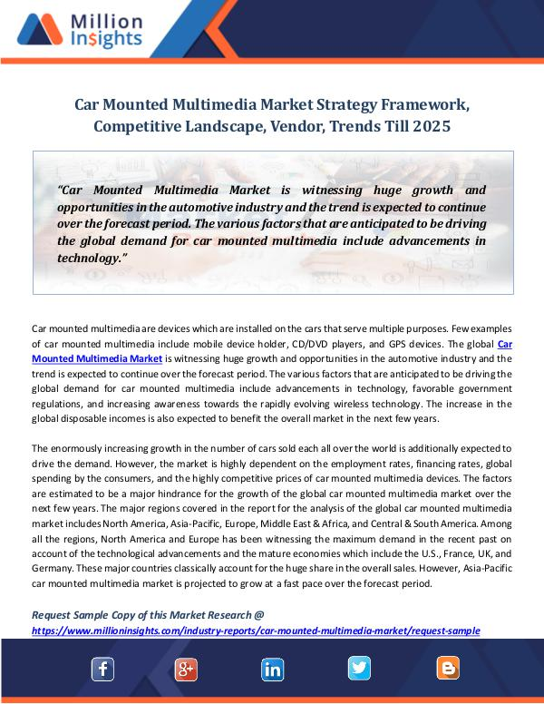Market Revenue Car Mounted Multimedia Market Strategy Framework