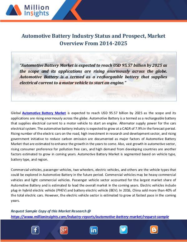 Market Revenue Automotive Battery Industry Status and Prospect