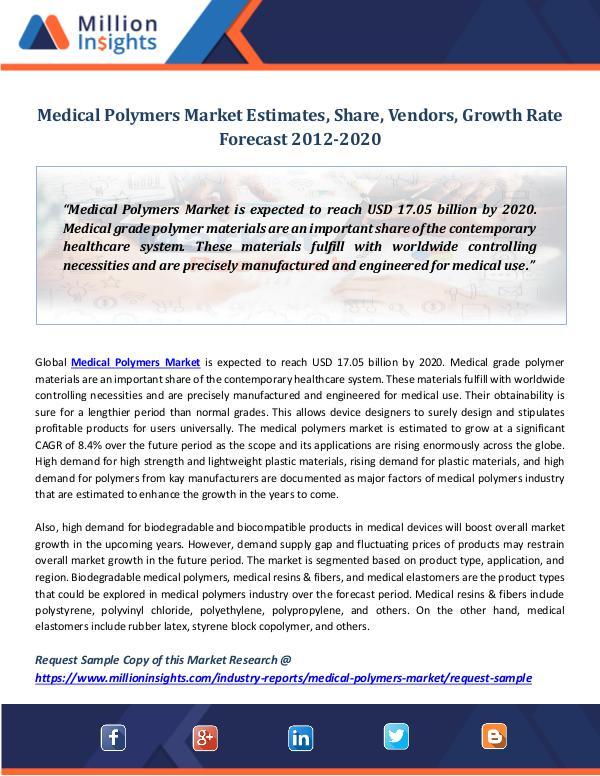 Market Revenue Medical Polymers Market Estimates, Share, Vendors