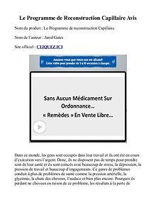 Le Programme de Reconstruction Capillaire PDF Gratuit