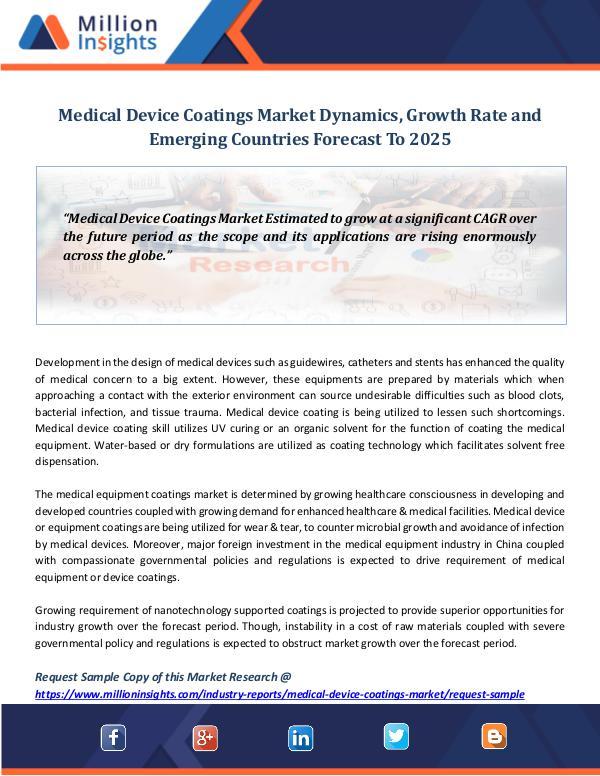 Market World Medical Device Coatings Market Dynamics