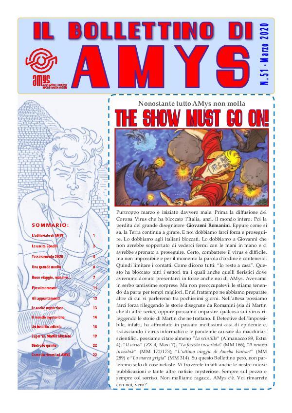 Tutti i Bollettini di AMys IL BOLLETTINO DI AMYS nr. 51-2020