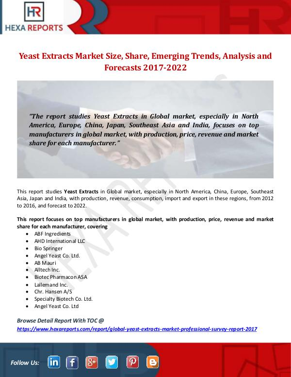 Hexa Reports Yeast Extracts Market Size, Share, Emerging Trends