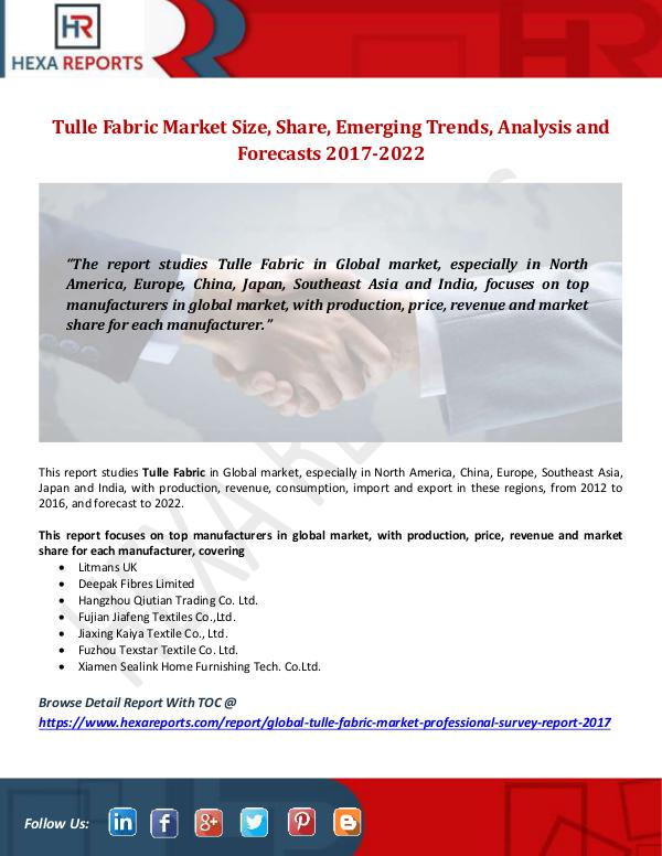 Hexa Reports Tulle Fabric Market Size, Share, Emerging Trends,