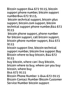Bitcoin customer service number 844 672 9115 customer support number