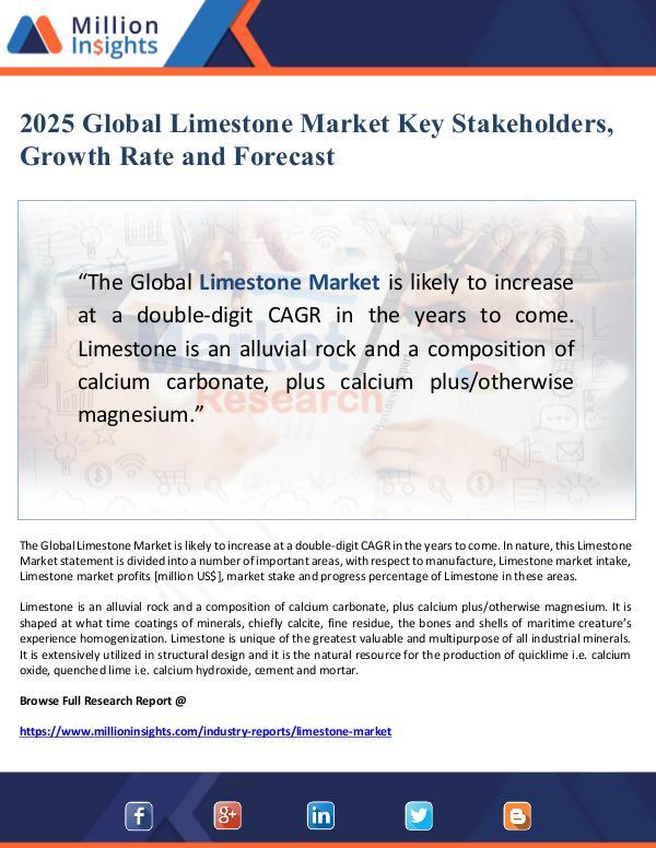 Global Research 2025 Global Limestone Market Key Stakeholders, Gro