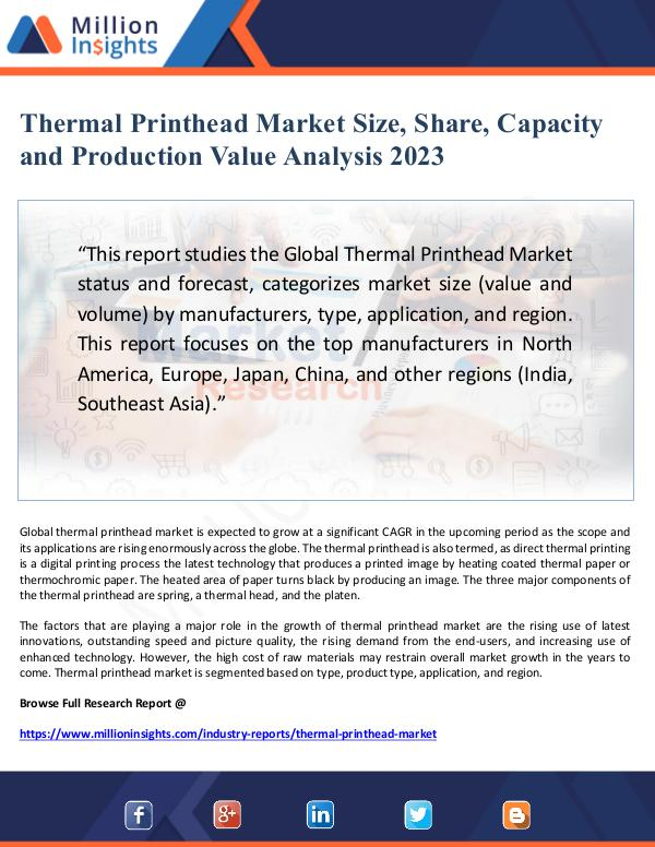 Global Research Thermal Printhead Market Size, Share and Capacity