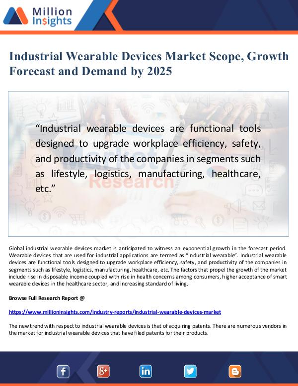 Global Research Industrial Wearable Devices Market Scope and Deman