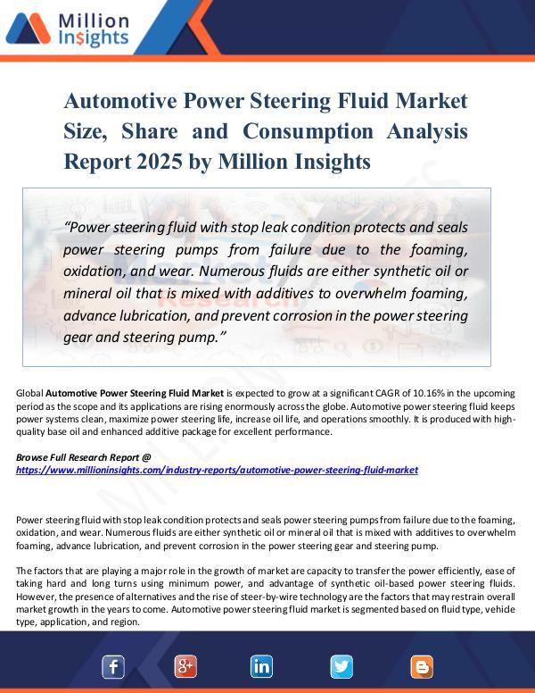 Market New Research Automotive Power Steering Fluid Market Size, Share